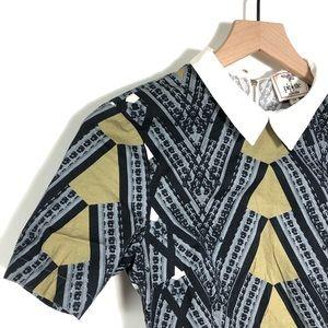 UO Piplette Mod Zipper Pilgrim collar geo dress